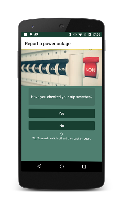 Power cut reporting app