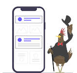 Bearded Hen Icon standing next to a Mobile Phone. Version 1