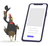 Bearded Hen Icon standing next to a Mobile Phone. Version 2