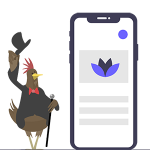 Service. Hen with phone