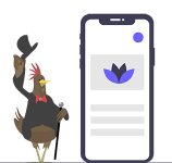 Bearded Hen Icon standing next to a Mobile Phone. Version 3